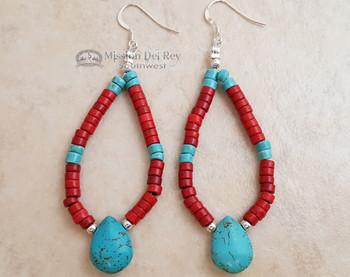 Native American Navajo Beaded Earrings - Turquoise