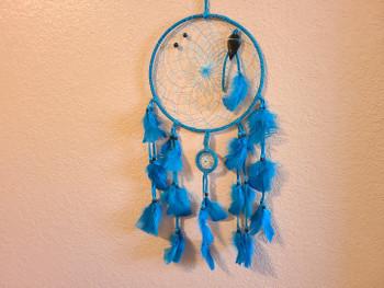 Tarahumara Indian Dream Catcher -Turquoise Blue