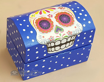"""Day of The Dead Wooden Jewelry Box 3"""" - Skull"""