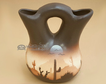 "Native American Navajo Wedding Vase 5"" -Sonora Desert Brown"