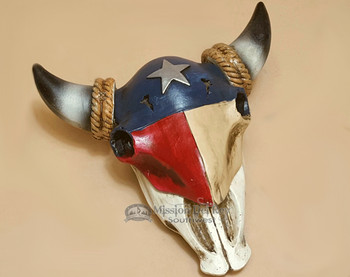 Texas Flag Steer Skull Jewelry or Trinket Box