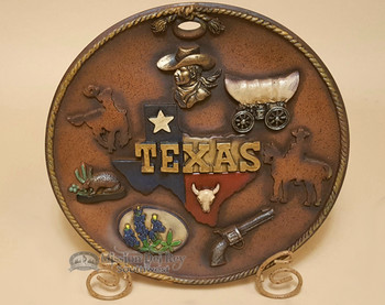 Decorative Western Style Plate With Stand - Texas