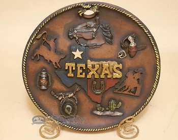 Rustic Western Style Plate With Stand - Texas Horse