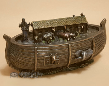 "Bronze Metal Art Trinket Box 6.75"" - Noah's Ark"