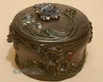 Southwestern Bronze Metal Art/Trinket Box - Floral Lady Bug