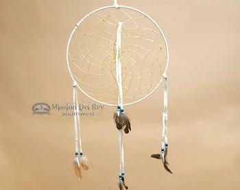 "Navajo Hand Woven Dream Catcher 12"" - White"