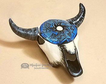 Native American Hand Painted Pottery Steer Skull 5.5""