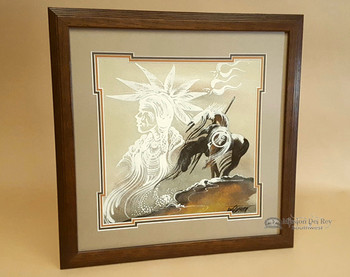 "Native American Framed Sand Painting 18""-End Of Trail"