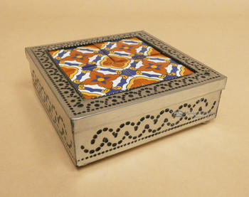 Closed Tin & Talavera Tin Jewelry Box
