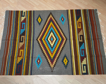 Hand Woven Zapotec Wool Area Rug 5x7