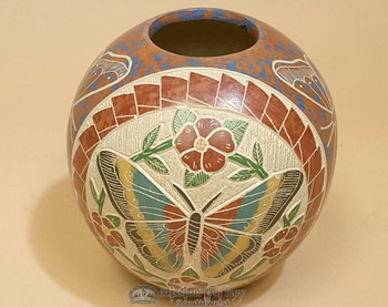Mata Ortiz Hand Etched & Painted Butterfly Pottery Vase by Ernesto Olivas