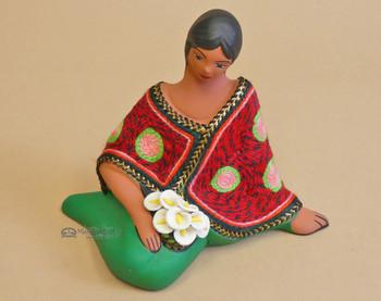Sitting Woman Pottery Figurine -Maria
