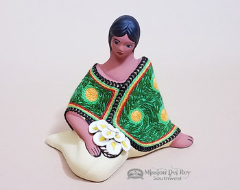 Sitting Pottery Maria with Flowers