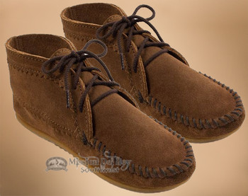 Women's Laced Ankle Boot Moccasins -Dusty Brown