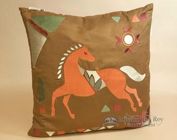 Western Designer Applique Pillow 18x18 -Horse