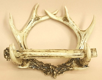 Rustic faux antler toilet paper holder.