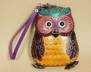 Rustic Western Hand Tooled Leather Coin Purse -Owl