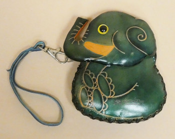 Hand Tooled Leather Coin Purse -Teal Elephant