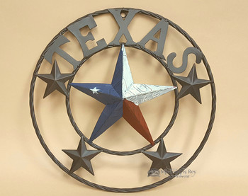 "Rustic Metal Texas Star 16"" -Texas Flag"