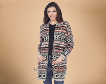 Southwest Design Cardigan -Soft Knitted Fabric