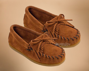 Kilty Traditional Fringed Leather Kid's Moccasins
