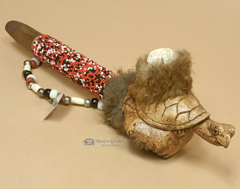Beaded Antler Pipe With Hand Carved Turtle