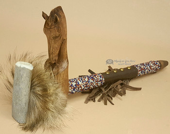 Beaded Antler Pipe With Hand Carved Horse
