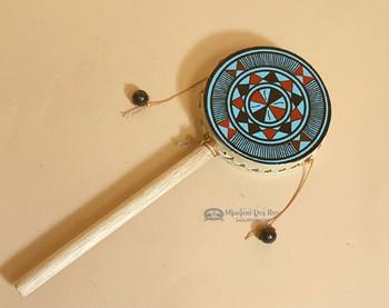 Rawhide hand spinner drum -Geometric
