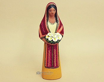 Southwestern Standing Maria With Flowers -Gold