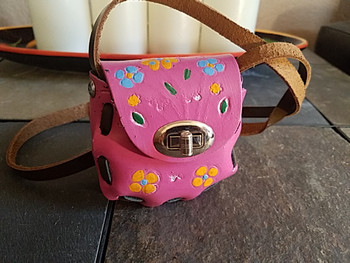 Small Hand Stitched Leather Purse - Pink
