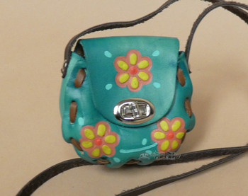 Small Hand Stitched Leather Purse - Turquoise
