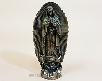 Rustic Bronze Metal Art Statue -Virgin Of Guadalupe