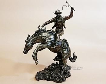 Cold Cast Bronze Statue -Rodeo Cowboy & Horse