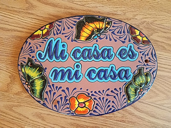 Genuine Hand Painted Talavera Sign -Mi Casa