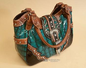 Faux Alligator Skin Design Handbag