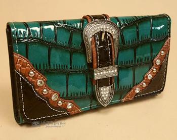 Faux Alligator Skin Design Wallet