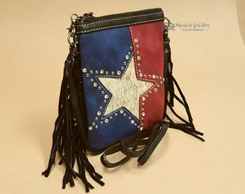 Western Fringed Messenger Purse -Texas Star