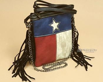 Western Fringed Messenger Bag -Texas Lone Star