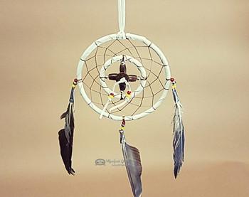 Native American Deer Skin Medicine Wheel Dream Catcher