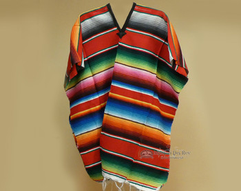 Mexican Style Adult Serape Poncho - Red