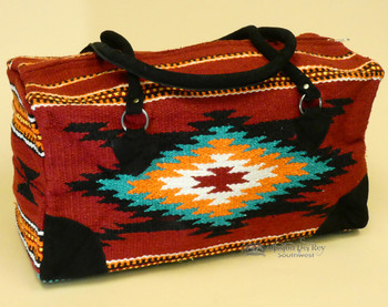 Native Southwestern Weekender Rug Bag - Cranberry