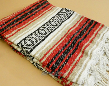 Rustic Woven Mexican Falsa Blanket - Red and Gold
