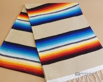 Southwestern Mexican Style Serape Table Runner -Tan