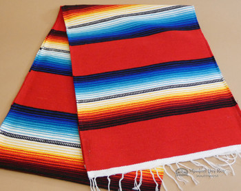 Southwestern Mexican Style Serape Table Runner - Red