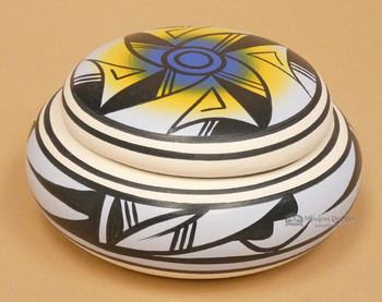 Hand painted Native American Navajo Pottery Jewelry Box