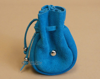 Turquoise Leather Medicine Pouch with Metal Beading