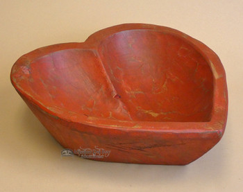 Rustic Red Heart Wooden Bowl