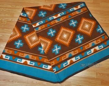 Soft Southwestern Fleece Lodge Blanket - Turquoise/Tan