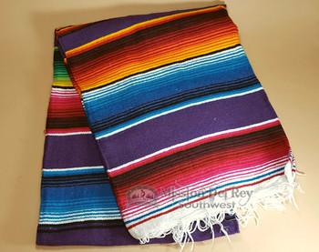Southwest Mexican Serape Fire Blanket 5'x7' -Purple