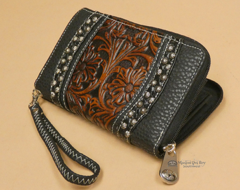 Faux Tooled Leather Western Wallet